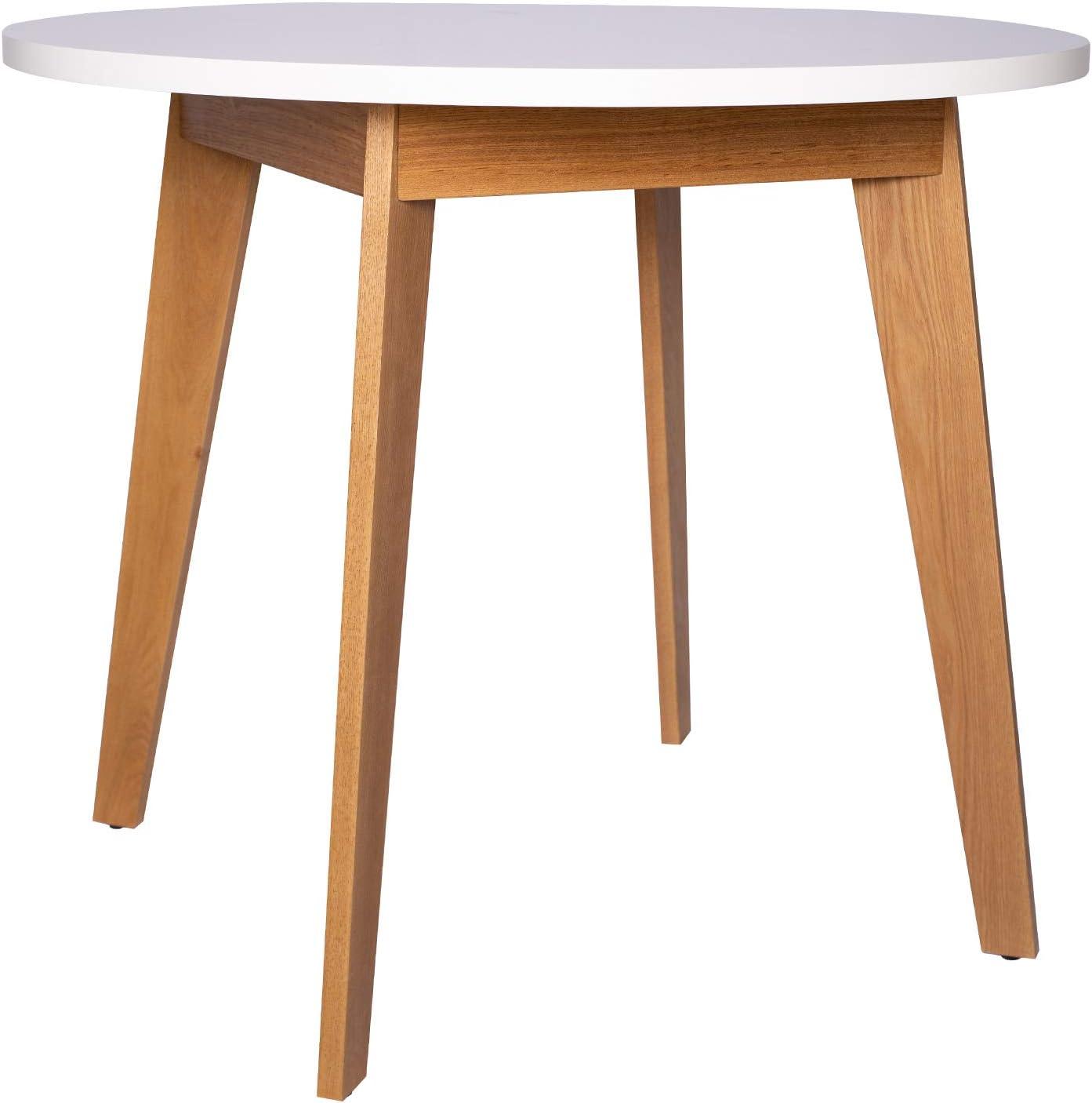 Amazon Brand Rivet Noah Round Modern Ash Dining Table 35 4 W White Tables