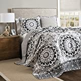 Lush Decor 3 Piece Laurel Wood Circle Quilt Set, Full/Queen, Gray/Black