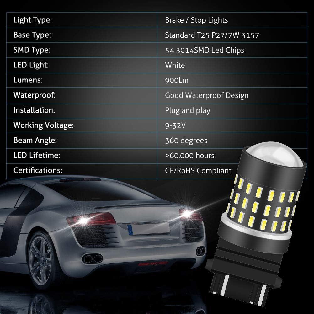 KaTur 2PCS super Bright 1156/BA15s 7506/1073/1095/1141/3014/54SMD LED lampadine di ricambio Lens girare freno segnale coda Back up luci di stop parcheggio RV 3.1/W DC 12/V bianco