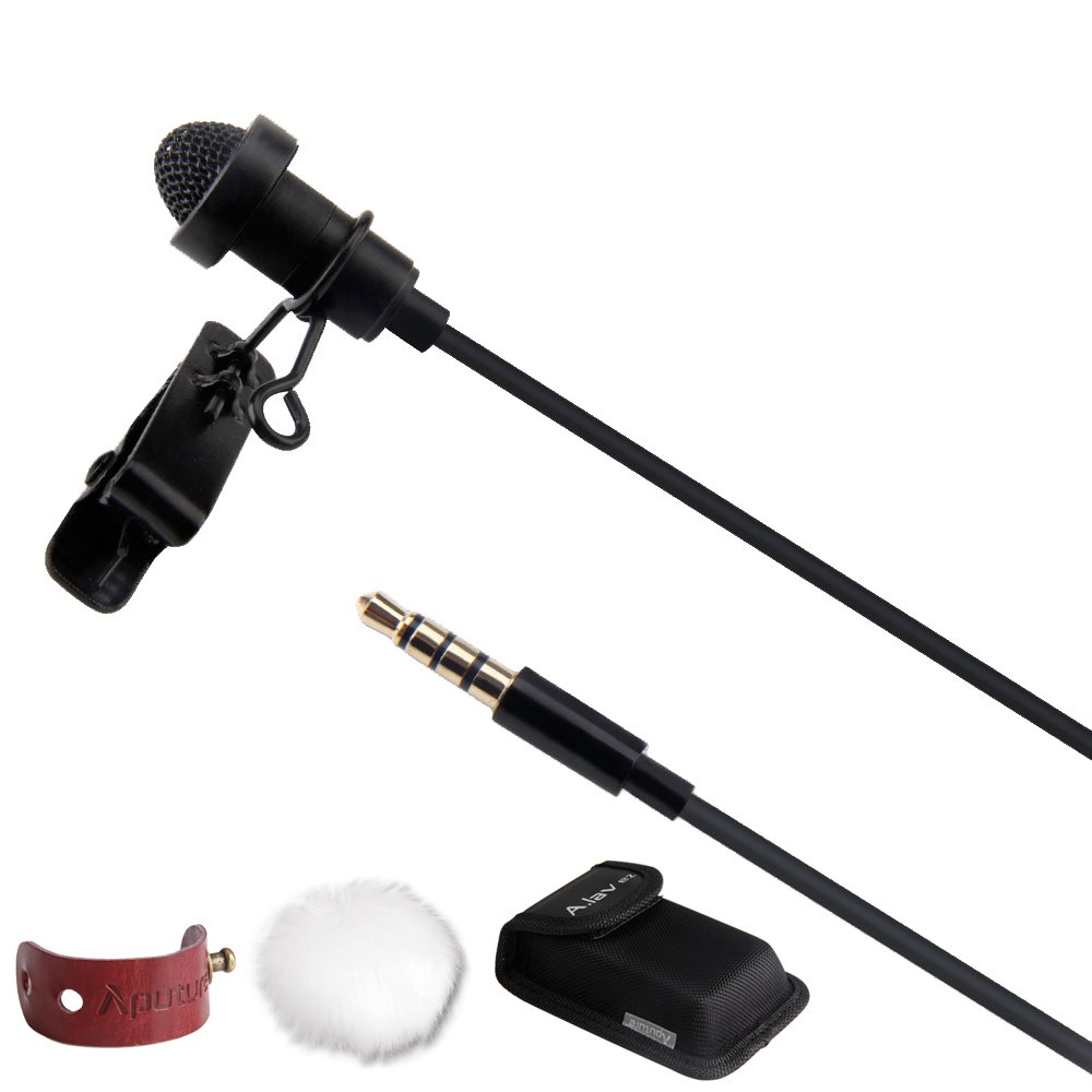 Aputure A.lav ez Portable Broadcast Mic Omnidirectional Lavalier Condenser Microphone for ios Android Smartphone Tablet Devices