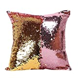 Fengheshun Reversible Sequins Mermaid Pillow Covers 40×40 cm Magical Color Changing Pillowcase Christmas Decoration (Pink Purple+Gold)