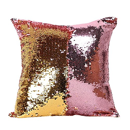 fengheshun reversible sequins mermaid pillow covers 4040 cm magical color changing pillowcase christmas decoration pink purplegold