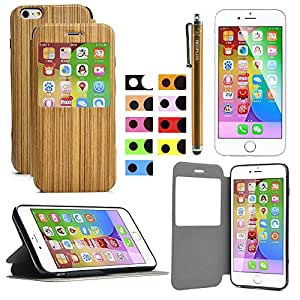 iPhone 6 Plus Case, HESPLUS Unique Genuine Wood Hybrid Smart Window View PU Leather Folio Flip Wallet Case with Stand for Apple iPhone 6 Plus 5.5 Inch (D)