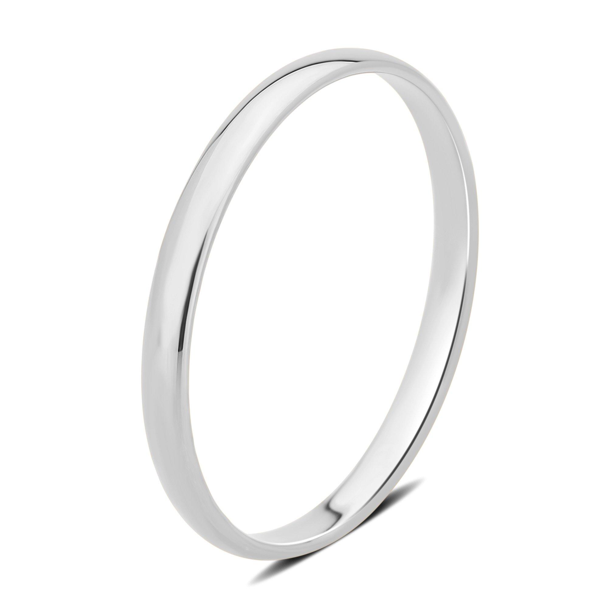 DiamondMuse 2 mm Plain Wedding Band in 10K White Gold (9)