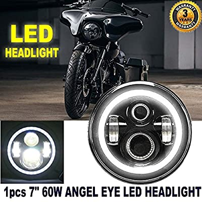 7 Inch LED Headlight Round Halo Ring Amber Turn Signal for Motorcycle Harley Davidson Super Glide/Street Glide/Softail Springer/Road King - OEM DRL Headlamp Replace 6012 6014 6015 H6017 H6024 (1Pcs)