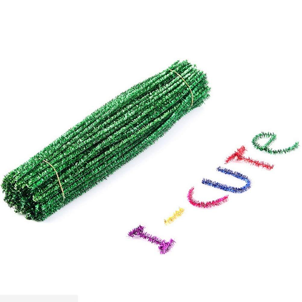 YeahiBaby Pfeifenreiniger Glitter Chenilledraht Biegeplüsch Kinder DIY Handwerk Material Weihnachtsdeko 30cm 100 Stück (Grün)