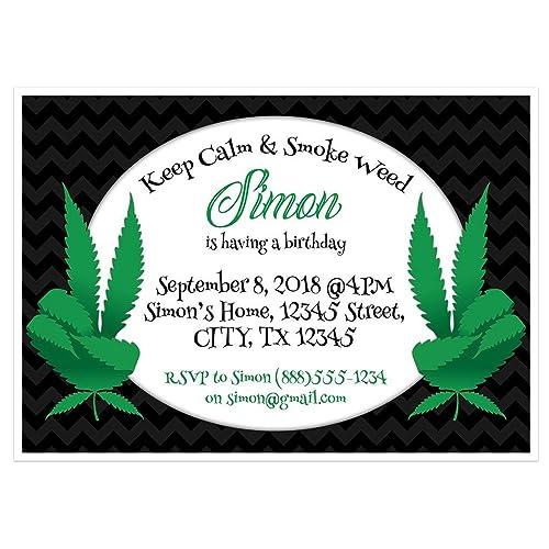amazon com marijuana black birthday party invitations handmade