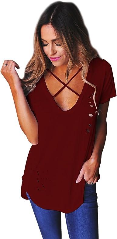 Camisetas Manga Corta Cuello en V Mujer Anchas Verano Personalizadas Camisas Estampadas de Mujer Camiseta Casual Señora Camisa Color Puro Camisetas y Tops Flojas Poleras de Mujer Vino Rojo XXL: Amazon.es: Ropa