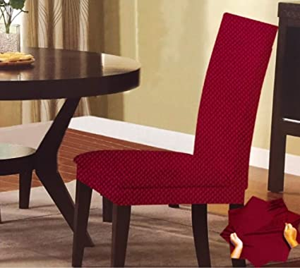 Amazon Monica Stretch Dots Dinning Chair Cover Burgundy Home