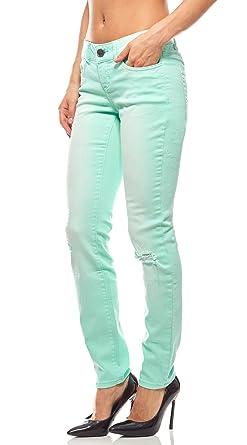 farblich passend offizieller Laden beste Qualität AJC Hose Skinny Jeans Damen Langgröße Destroyed Sommerhose Grün