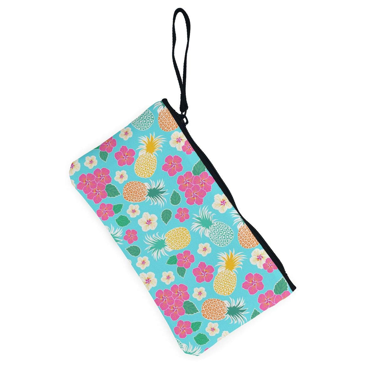 Bk55Oi/&/& Womens Retro Purse Lowers and Pineapple Fruit Pattern Canvas Makeup Bag with Zipper for Women