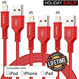 Lightning Cable, BKSTONE 3ft 3ft 6ft USB to iPhone Cable (3 Pack) 8 Pin iPhone Charger Cord for iPhone X 8 7 6s 6 Plus 5s SE 5 iPad Mini Air (red)