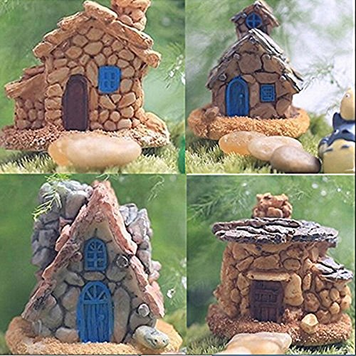 Buytra Fairy Garden Accessories Miniature Fairy Garden Stone House for Miniature Garden Ornaments Dollhouse Decor, Set of 4