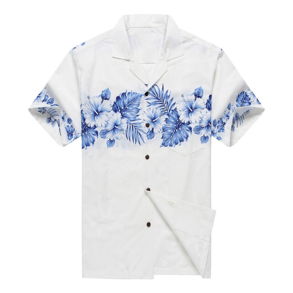 ハワイで作られたメンズアロハシャツ 白と青のクロスハイビスカスとパーム B01F4BH9X0 M|ホワイト ホワイト M