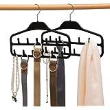 Belt Hanger Rack Holder 2 Pack, Sturdy Belt Organizer with 360 Degree Swivel, 11 Large Belt Hooks for Closet, Non Slip Rubber