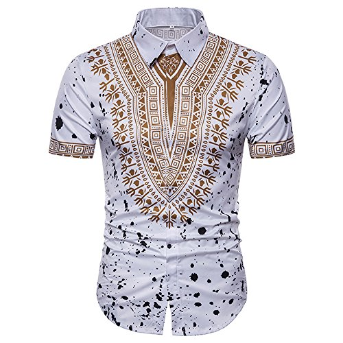 HGWXX7 T-Shirt Men Casual African Print Long Sleeved O-Neck Pullove Blouse Top (XL, Y-White)