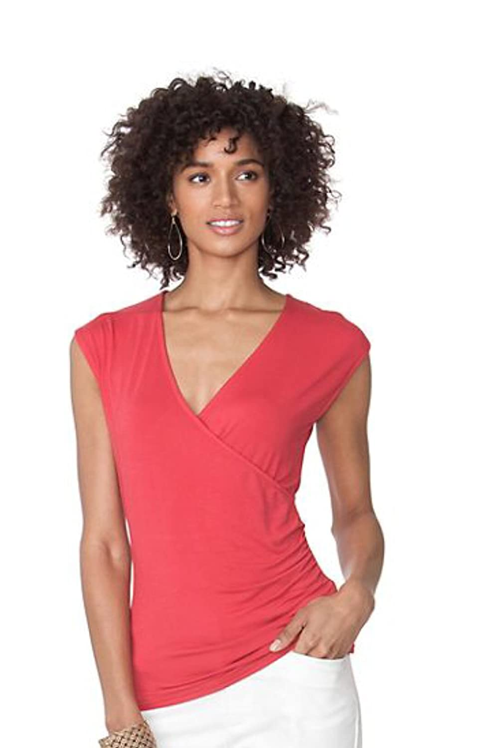 Red Chaps Womens Ruched Surplice Top