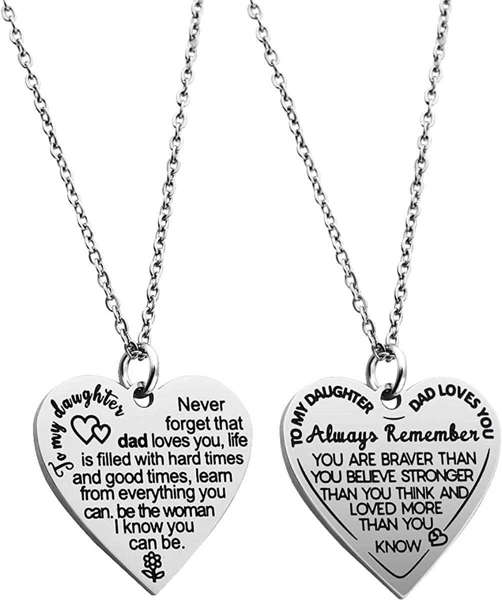 Personalized To my Daughter Necklace  for Her Valentines Birthday Gift Scripted Love Necklace for Women with Message  Card