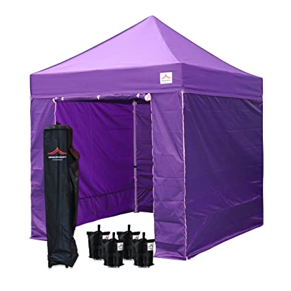 UNIQUECANOPY 8x8 Canopy Tents for Parties Portable Instant Folded  Commercial Popup Shelter, with 4 Zippered Side Walls and Wheeled Carrying  Bag Bonus