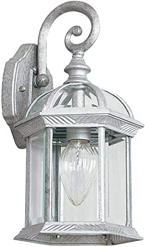 Sunset Lighting F7949-62 One Light Outdoor Wall Lantern, Rubbed Bronze Finish with Clear Beveled Glass