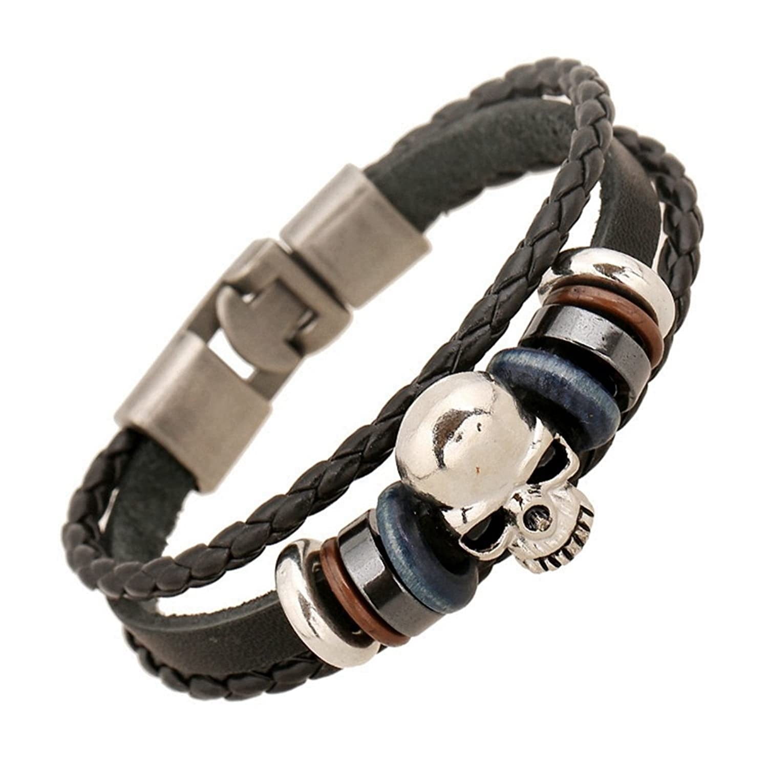 Black Hand Braided Leather Rope & Silver Skull Pirate Bracelet