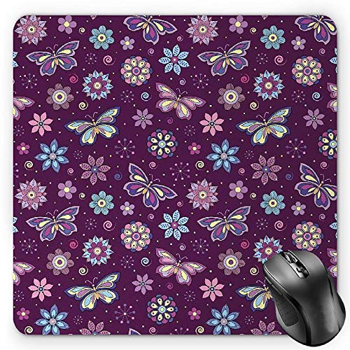 - BGLKCS Butterfly Mouse Pad, Vortex Shapes with Polka Dots Background Flower Pattern Colorful Animal Design, Standard Size Rectangle Non-Slip Rubber Mousepad, Multicolor