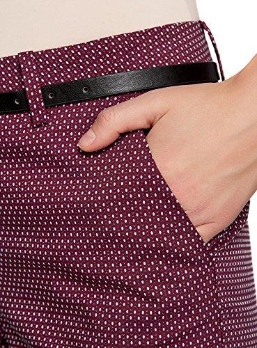 Con Oodji Pantaloni Rosso In Collection Cintura Donna 4973d Jacquard XpgrXq