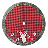48'' Plaid Deer Christmas Tree Skirt with Faux Fur Border & Snowflake Applique