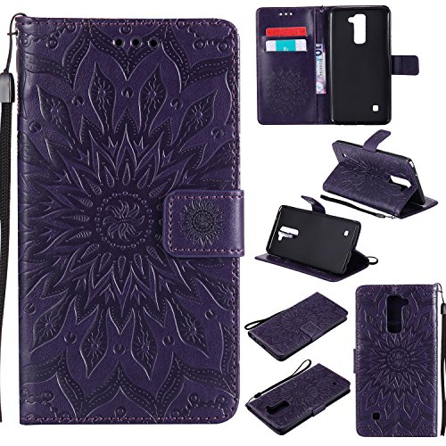 LG Stylus 2 Case, LG G Stylo 2 LS775 Case,LG Stylo 2 Plus Case,SMYTU Premium Emboss Sunflower Flip Wallet Shell PU Leather Magnetic Cover Skin with Wrist Strap Case (Purple)