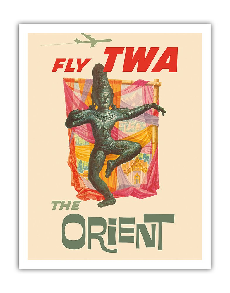 Pacifica Island Art The Orient - Fly TWA (Trans World Airlines) - Bronze-era Siam Thai Dancer - Vintage Airline Travel Poster by David Kleinc.1960 - Fine Art Print - 11in x 14in