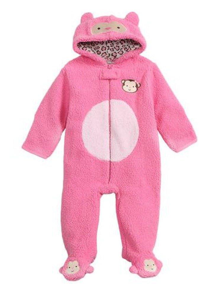 Baby Gear Infant Girls Plush Pink Faux Shearling Monkey Snowsuit Baby Pram