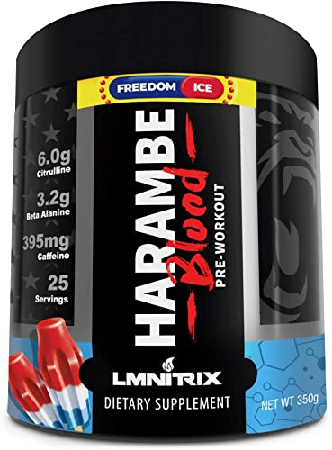 Harambe Blood Preworkout Powder for Men Women – Extreme Pump Supplement – Freedom Ice – 350g