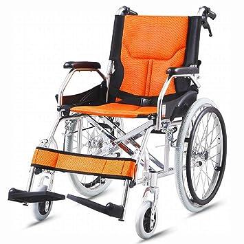 LUO Silla de Ruedas Plegable Ligero Portátil de Viaje Ultra Ligero Ancianos Multi-Función Discapacitados Carretilla de Viaje Inflable Libre,UN,Un tamaño: ...
