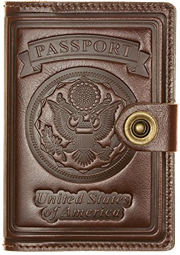 Villini - Leather RFID Blocking US Passport Holder Cover ID Card Wallet - Travel Case (Brown Lacqered) ()