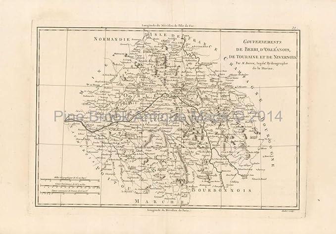 River Map Of France.Loire River France Antique Map Bonne 1787 Original French Wall Decor