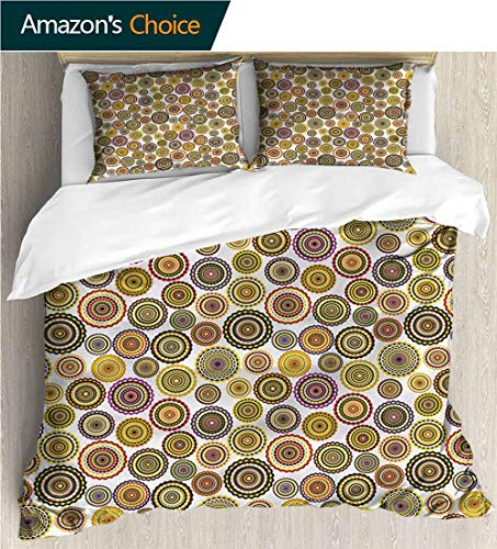 Home Duvet Cover Set,Box Stitched,Soft,Breathable,Hypoallergenic,Fade Resistant Bedding Set for Kids,Boys and Teens-Geometric Colorful Circle Bulls Eye (80
