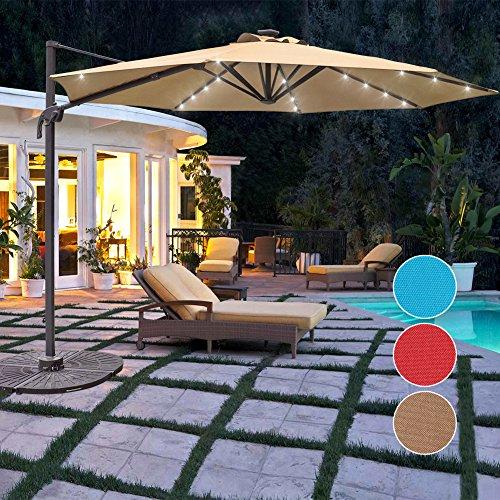 Cheap Sundale Outdoor 10 ft Solar Powered 28 LED Lighted Aluminum Offset Hanging Patio Umbrella with Crank and Cross Bar Set, Cantilever Umbrella for Deck, Garden, Backyard, Polyester Canopy (Tan)