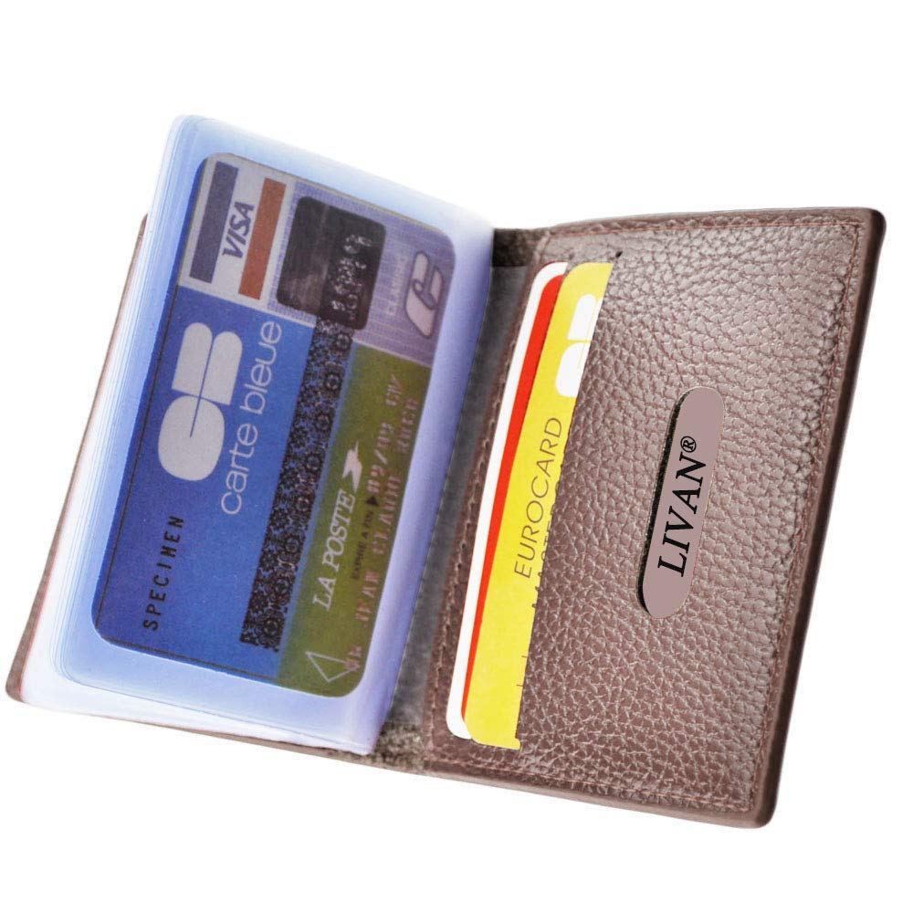 LIVAN - L0944 - Porte Cartes Crédit CB Visite Fidélité - 24 elplacements - En Cuir Véritable Bleu