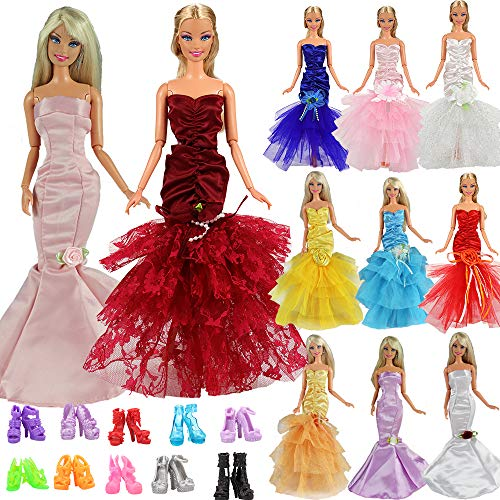 Barwa 3 Pcs Mermaid Dress for Night Looks Princess Evening Wedding Party Dress Clothes Gown Outfit for Barbie Doll (3 Dresses + 10 Shoes) by Barwa