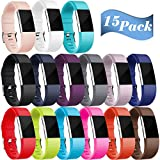 Maledan For Fitbit Charge 2 Bands (15 Pack), Replacement Accessory Wristbands for Fitbit Charge 2 HR, Small