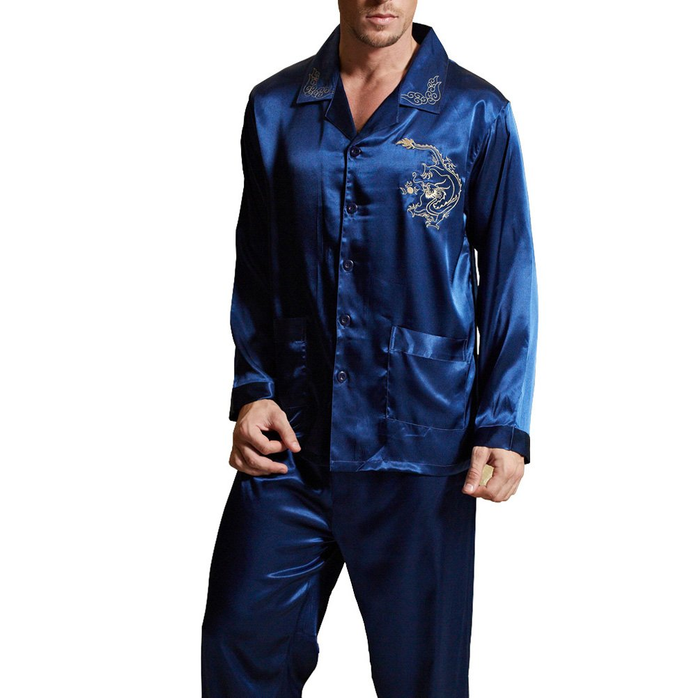 Amybria Men High Quality Silk Pajamas Set Blue Size XL