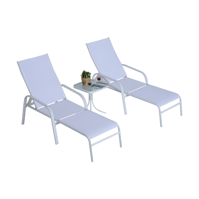 Outsunny 5 Piece Metal Outdoor Patio Furniture Leisure Set - Cream White