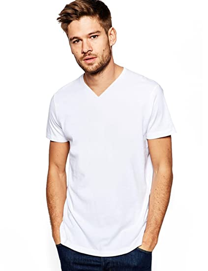 a41c820e0 Amazon.com: ITALY MORN Men Fahsion Casual Blank Basic T-Shirts V-Neck Cotton  Slim Tee M White: Clothing