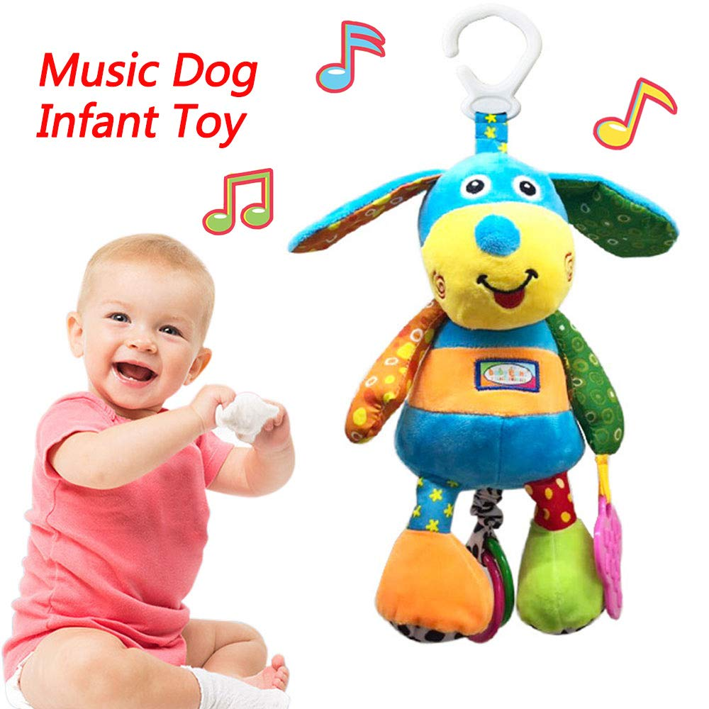 Baby Music Toys for 0 3 6 9 12 Months - Infant Newborn Soft Music Hanging Baby Crib Stroller Activity Plush Puppy Toys Squeaky Ear Sensory Teething Developmental Toy for Baby Boys Girls by SSoul