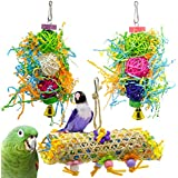 Wonninek Parrot Cage Toys Bird Swing Toys Bells Bird Perch with Natural Wood Beads Bells Wooden Hammock Hanging Toys for Budgie Lovebirds Conures Parakeet