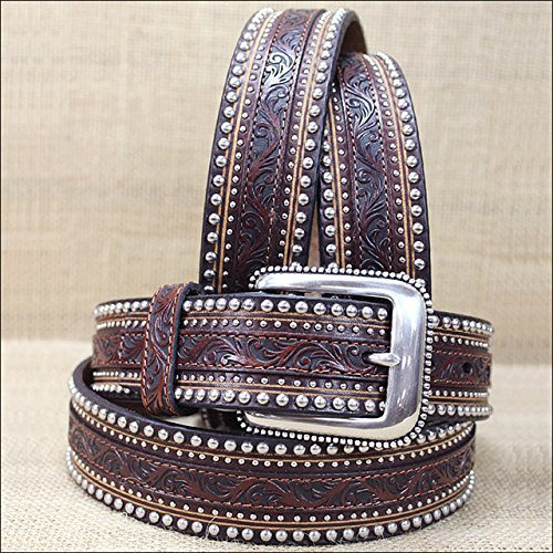 Tony Lama Mens Saddle (Tony Lama Men's Jagged Rail Western Leather Belt Tan 34)
