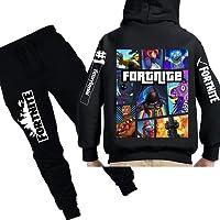 Wazonton Fortnite Zipper Hoodie Set with Long Pants Boys Girls Unisex Sweatshirt Set