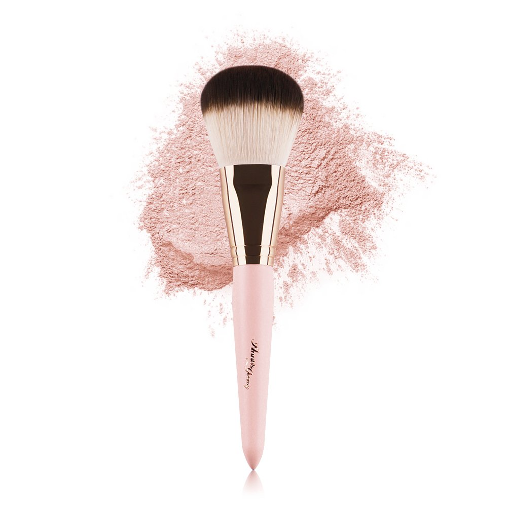 Anne's Giverny Kabuki Large Loose Powder Foundation Pink Brush for Blending Bronzer Blush Makeup Bohol