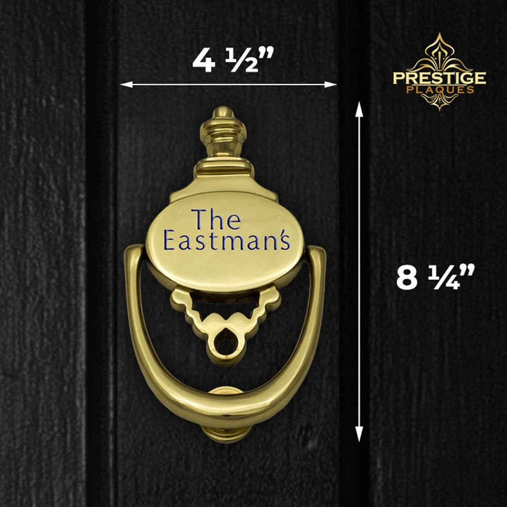 Engraved Prestige Plaques Personalized 2-Piece Door Knocker Large Size 8.25 x 4.5 Polished Brass