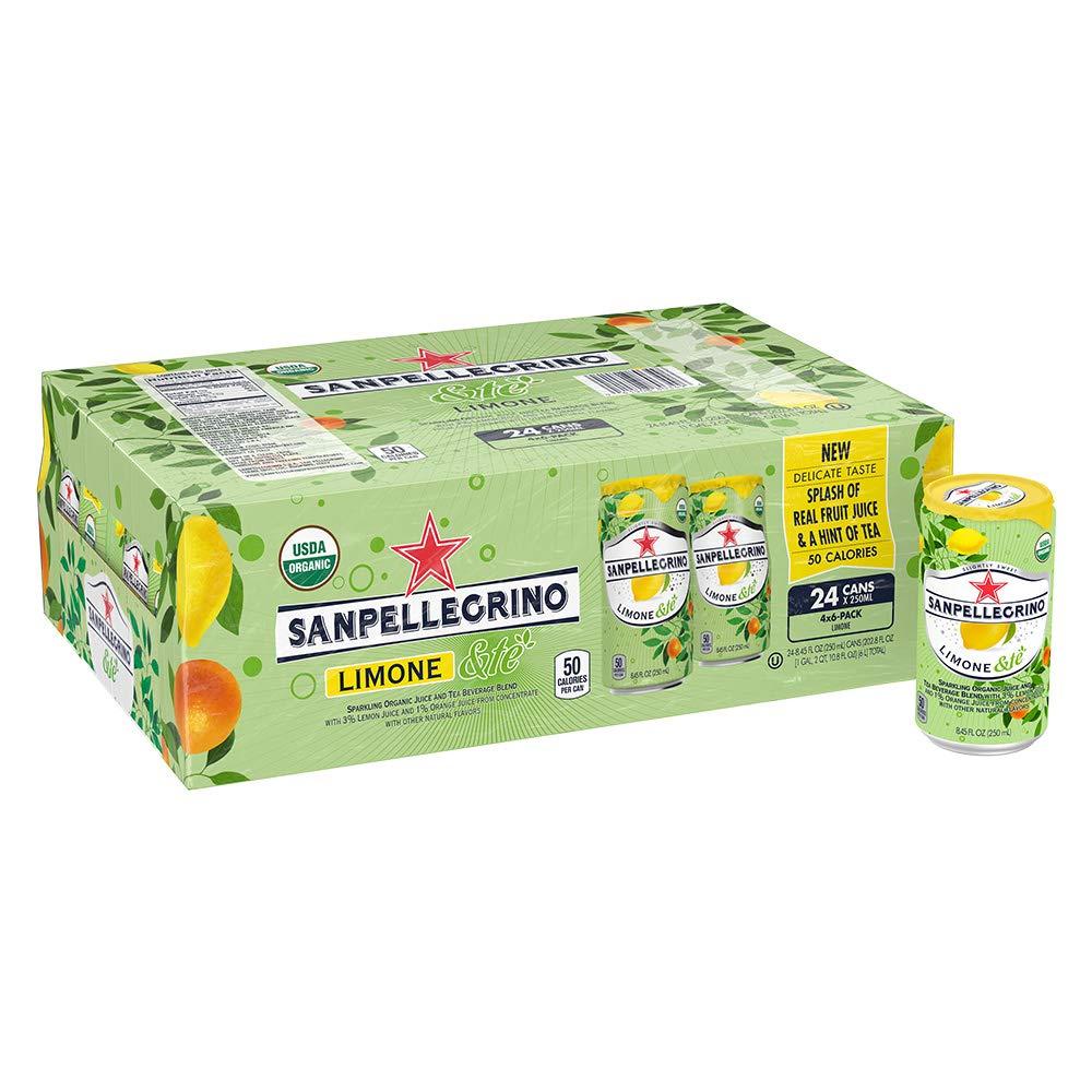 Sanpellegrino Limone &te Sparkling Organic Juice & Tea Beverage Blend 8.45 fl oz. (24 Pack)